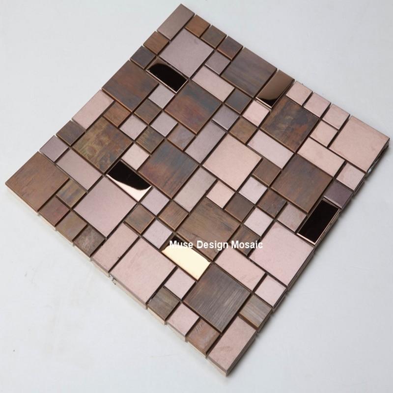 Antiguo CopperGold Metal arte mosaico de azulejos, cocina ducha chimenea pared azulejos, MD-MC03