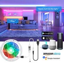 WiFi rétro-éclairage Intelligent LED bande lumineuse 5V USB multicolore Bluetooth Intelligent LED Diode ruban ruban lampe Google maison écho point