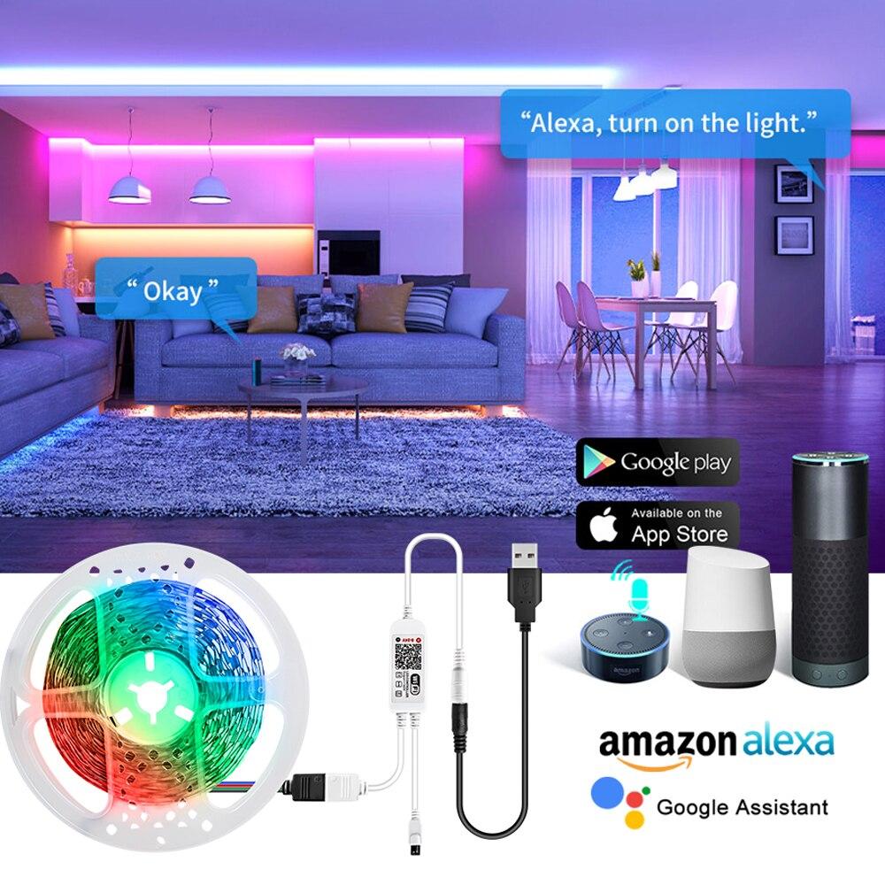 Wifi inteligente luz de tira led backlight 5v usb multi-colorido bluetooth led fita de diodo lâmpada google casa eco dot