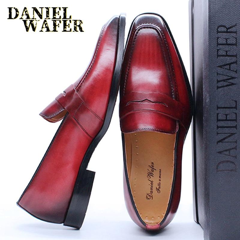 الفاخرة الرجال بيني المتسكعون جلد طبيعي الانزلاق على أحمر أسود فستان عمل غير رسمي أحذية رجالي حفل زفاف مكتب أحذية أنيقة