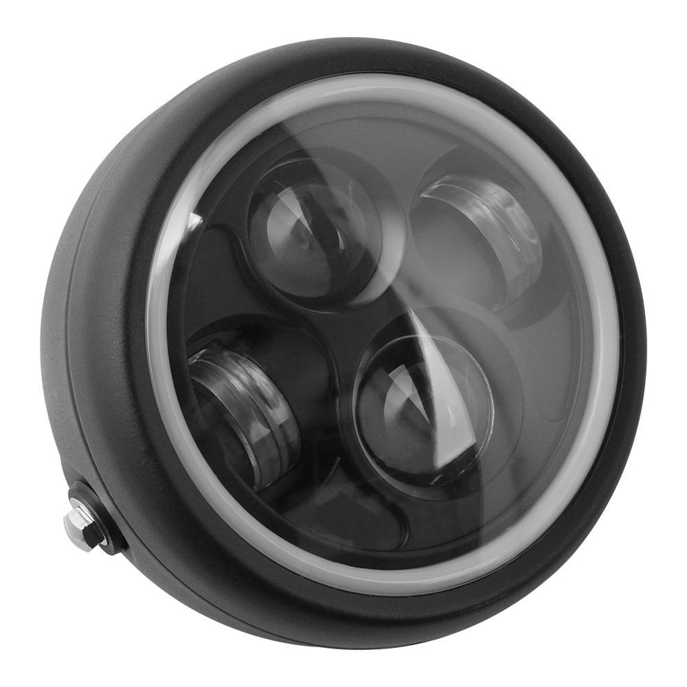 مصباح أمامي ريترو LED للدراجات النارية ، مصباح أمامي أسود 6.5 بوصة ، حلقة ملاك Hi & Lo DRL مع حلقة ملاك لهارلي سبورتستر كافيه ريسر وبوبر