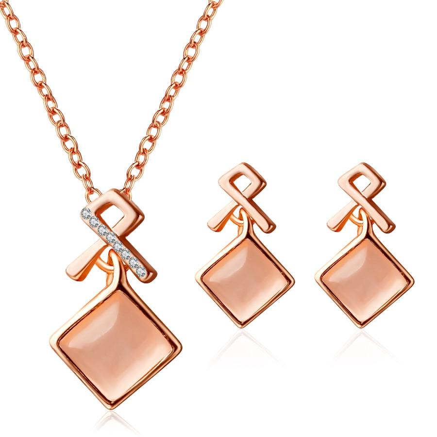DSHI45 أزياء مجموعة أزياء مجموعة مربع أحمر أصفر الكريستال حجر مجموعة أوبال أقراط قلادة مجوهرات 2 قطعة مجموعة هدية رابط