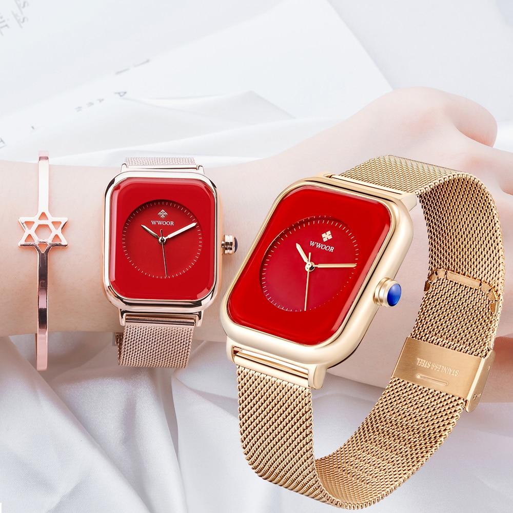 2021 WWOOR Women Watch Top Luxury Rose Gold China Red Ladies Bracelet Fashion Minimalist Womens Wristwatch Zegarek Damski