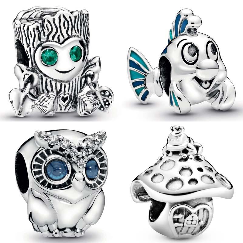 Сверкающие бусины в форме совы, дерева, монстра, русалки, камбала, гриба и лягушки, подходят для браслетов Pandora, 925 пробы, серебряные ювелирные украшения