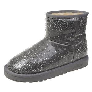 Pvc Snow Boots Woman Shoe Winter New Women Ankle Boot Fashion Plus Size Flat Booties Sequin Ladies Cotton Shoes Botas Feminina
