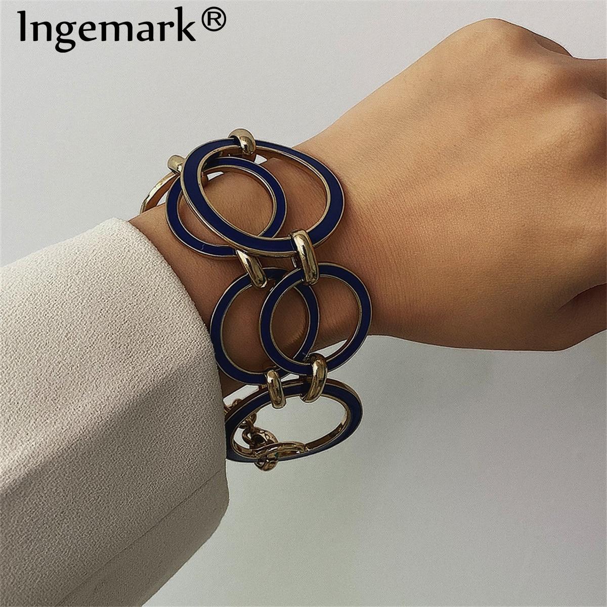 Ingemark vintage redondo bloqueio de corrente pulseiras pulseiras feminino braçadeira punk cor prata geométrica pulseira melhor feminino jóias presentes