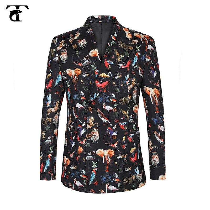 2020 novo animal impresso homem blazer masculino terno casual streetwear feriado duplo breasted jaqueta terno magro ajuste plus size 58