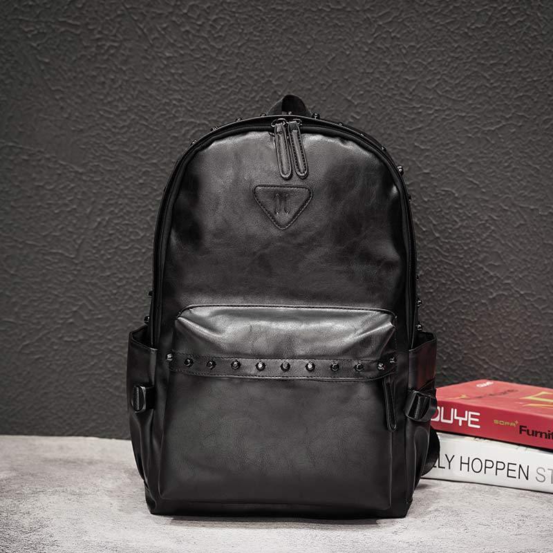 Модные мужские рюкзаки, рюкзаки с заклепками в уличном стиле, мужские сумки для ноутбука, вместительная Студенческая сумка, мужские дорожны...