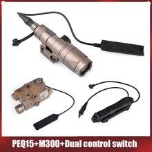Élément Surefir Airsoft Surefir M300 Mini lumière Scout PEQ-15 LA5C IR Laser rouge double contrôle pressostat augmenté lampe de poche