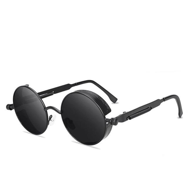 Classic Gothic Steampunk Style Round  Sunglasses  Men Women Brand Designer Retro Round Metal Frame Colorful Lens Sun Glasses
