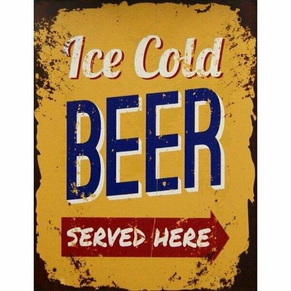 Letrero de Metal Vintage, placa de pared, cerveza fría, se sirve aquí,...