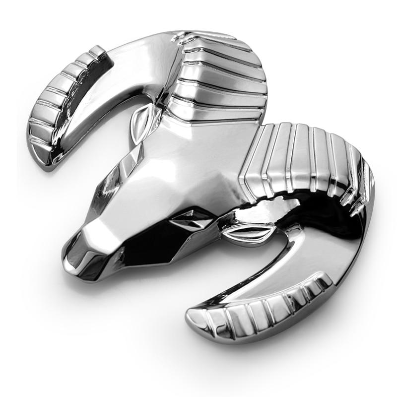 Carro 3d-estilo de cabeça ram chrome matal emblema adesivos para dodge ram 1500 2500 carregador durango challenger viagem peças de automóvel