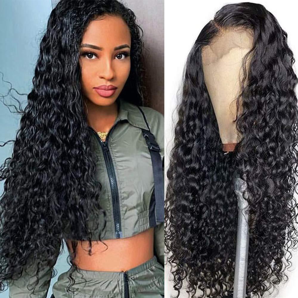 Rucycat perucas peruanas do cabelo humano da parte dianteira do laço com cabelo de remy prearrancado encaracolado perucas do bob da parte dianteira do laço com cabelo bady 150% perucas longas