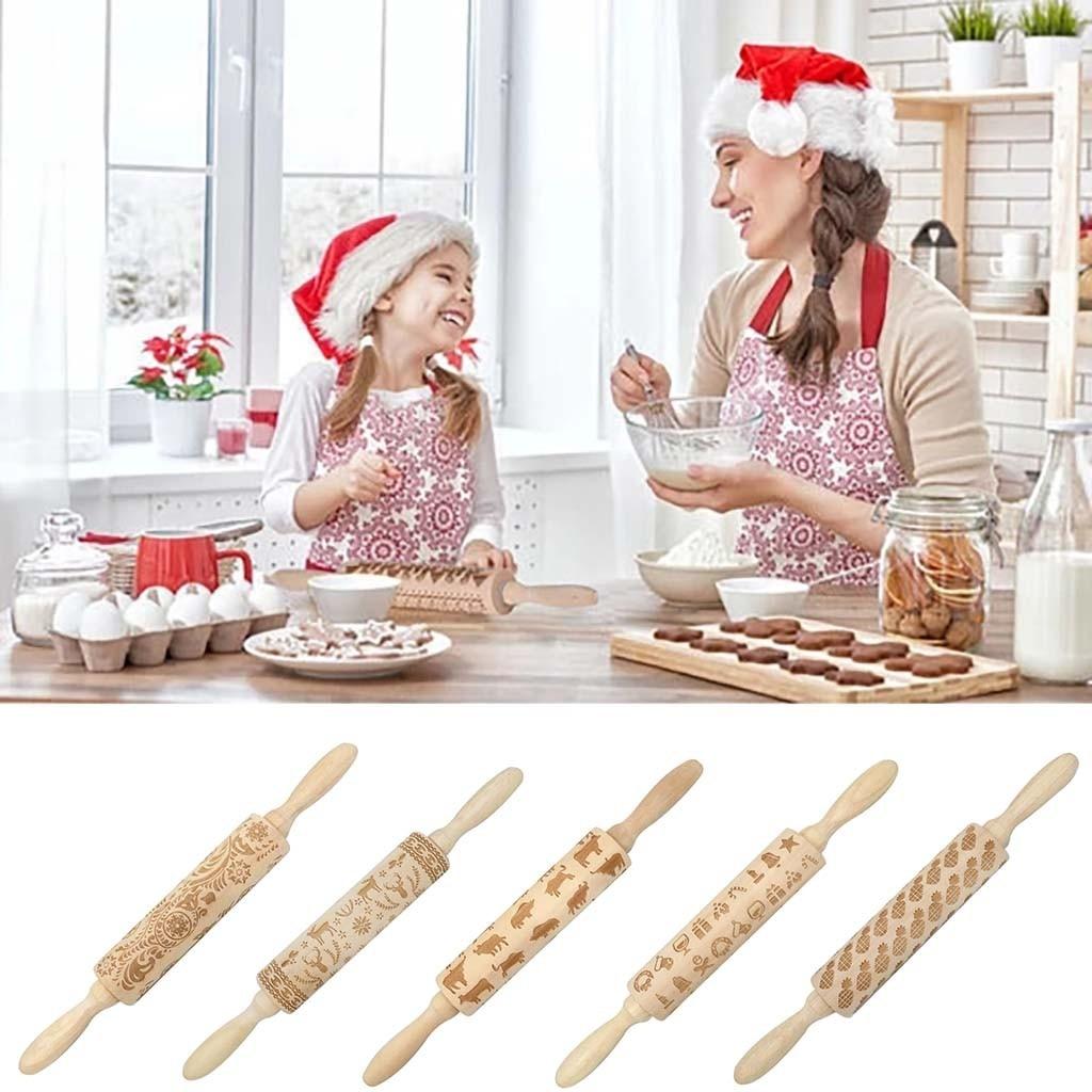 Rodillo de Navidad grabado en madera tallada, herramienta de cocina con rodillo giratorio para Fondant, pastel, Rodillo grabado, flor, glicinia
