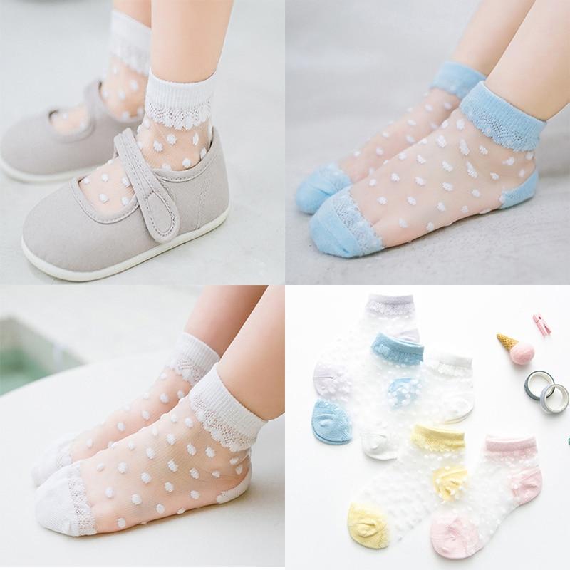 5 Pairs/Lot Summer Girls Socks Lovely Dot Crystal Silk Kids Socking Children Baby Girl Mesh Breathab