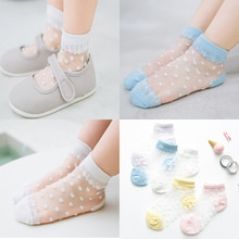 5 Pairs/Lot Summer Girls Socks Lovely Dot Crystal Silk Kids Socking Children Baby Girl Mesh Breathab