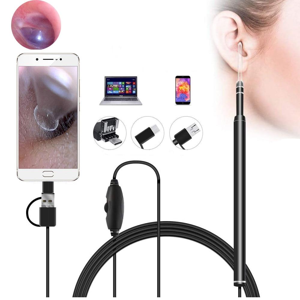5.5mm otoscópio médico na limpeza da orelha endoscópio visual colher de ouvido ferramenta de limpeza de cuidados de saúde para nariz orelha picker usb câmera hd