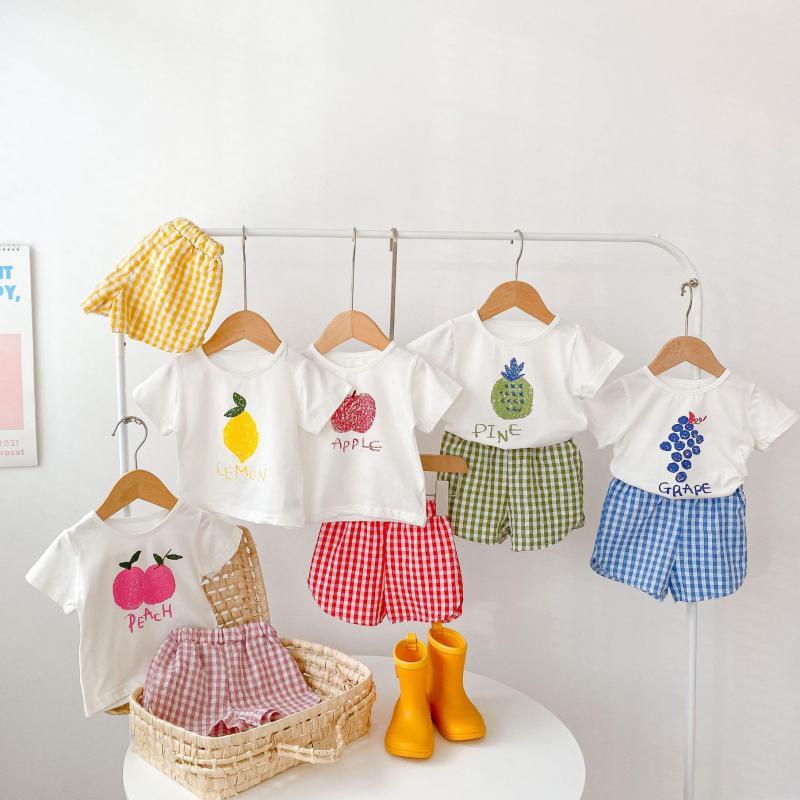 2017 new summer baby clothing set cotton cute pattern vest 2021 New Baby Cotton Clothes Set Summer Girls Short Sleeve Suit Cute Fruit T Shirt + Shorts 2pcs Boys Set Baby Clothing Set