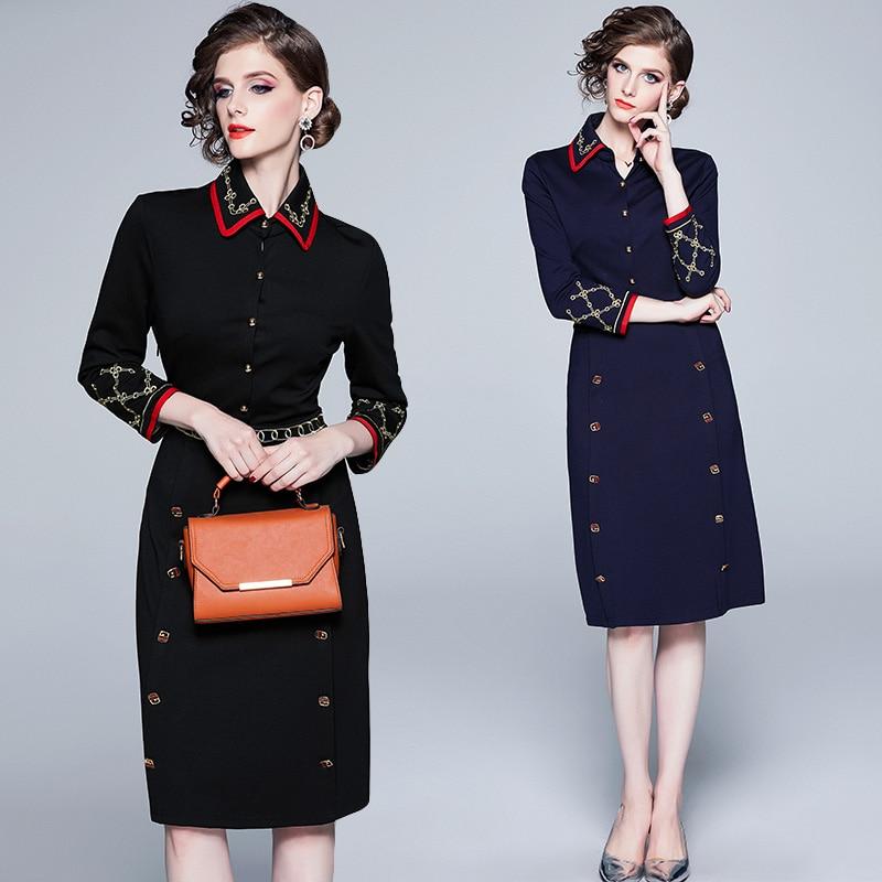 ZP 8537 2019 European American retro fashion embroidered doll collar dress mid-length Dress