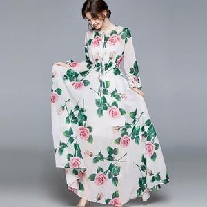 2021 Summer Fashion Runway Boho Maxi Dresses Ladies Long Sleeve Robe Rose Flowers Print Elastic Waist Holiday Elegant Long Dress