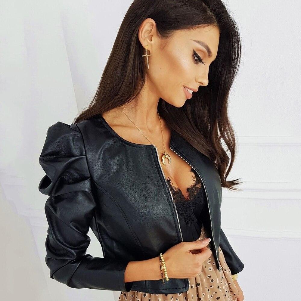 Черная куртка из искусственной кожи для женщин, модная женская куртка из искусственной кожи с молнией, верхняя одежда с длинным рукавом и кр...