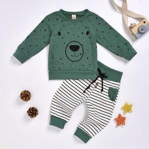 Children Boys Long Sleeve Bear Bear Sweater Cartoon Pants Set Toddler Kid Baby Boy Hoodie Cartoon Bear Sweatshirt Top + Pants S4