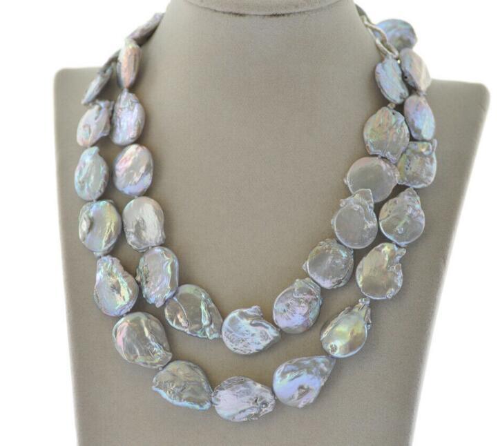 "Hermoso 36 ""23mm gris gota-moneda de agua dulce collar de perlas"
