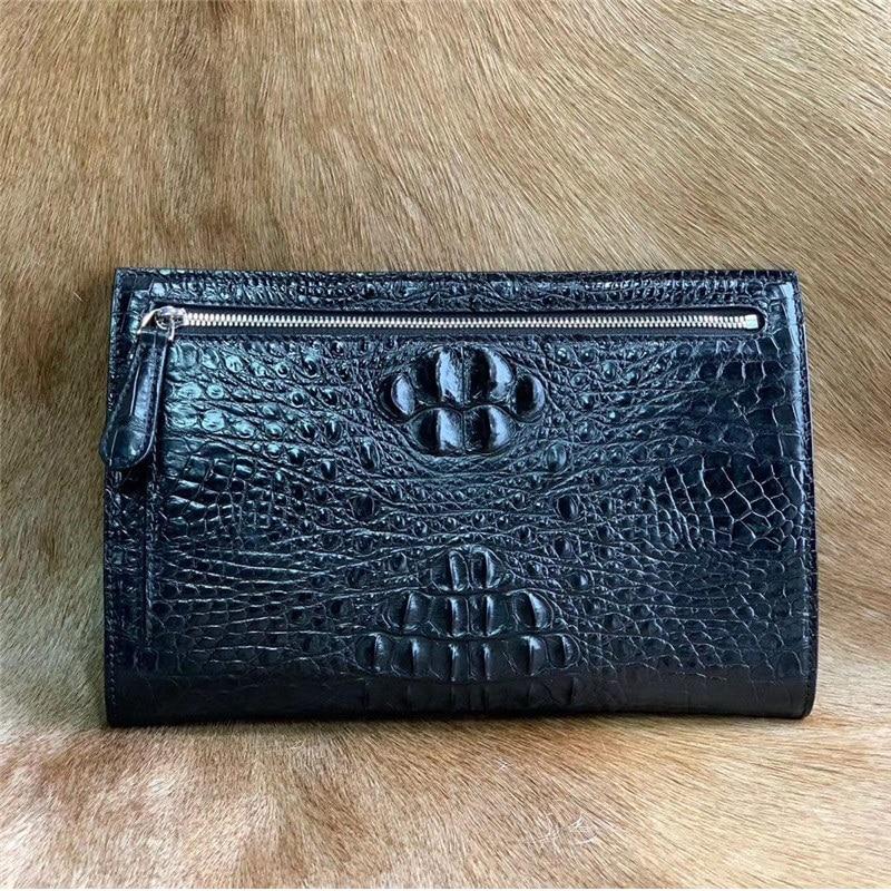Authentic Alligator Skin Zipper Closure Businessmen Envelop Clutch Purse Bag Genuine Crocodile Leath