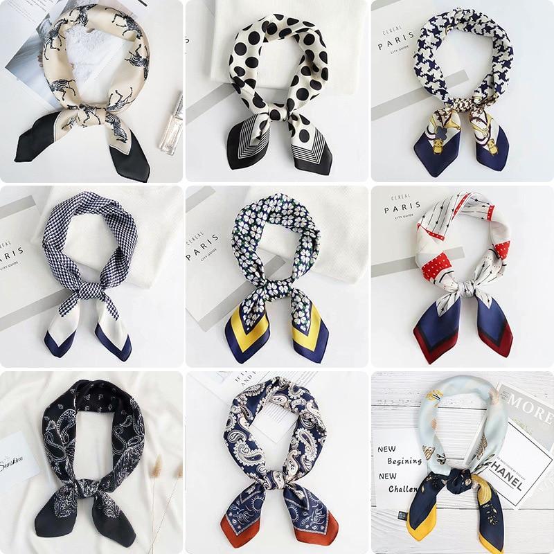 New Imitation Silk Scarf 70cm Printing Small Square Ladies All-match Decorative