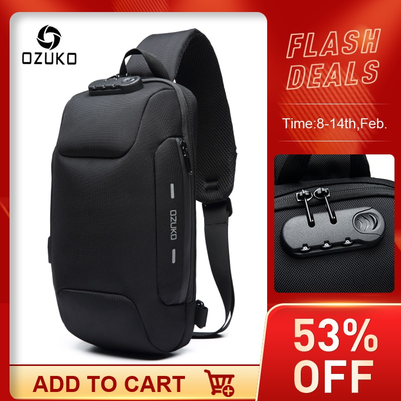 OZUKO 2021 New Multifunction Crossbody Bag for Men Anti-theft Shoulder Messenger Bags Male Waterproo