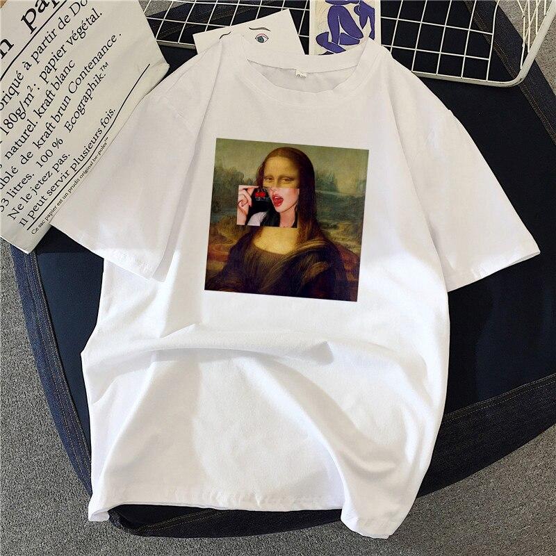Women T-shirts Mona Lisa Painting High Quality Artistic Oil Oversized T Shirt Fashion Harajuku Aesth