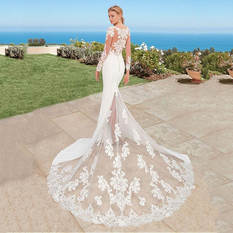 SoDigne Mermaid Boho Wedding Dress Long Sleeves 2019 Appliques Lace Bridal Gown Back Button Scoop Neck Gowns With Train