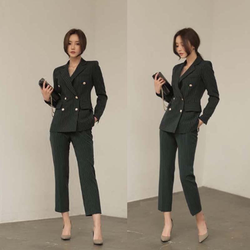2 piece set women Korean style striped suit professional two-piece pants blazer  suits for