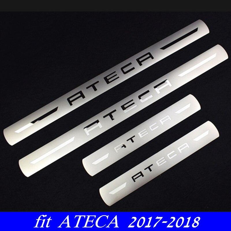 Nuevo Protector de alféizar de puerta de coche de acero inoxidable placa de desgaste cubierta de alféizar de puerta embellecedor para SEAT ATECA FR x-perience 2017-2019