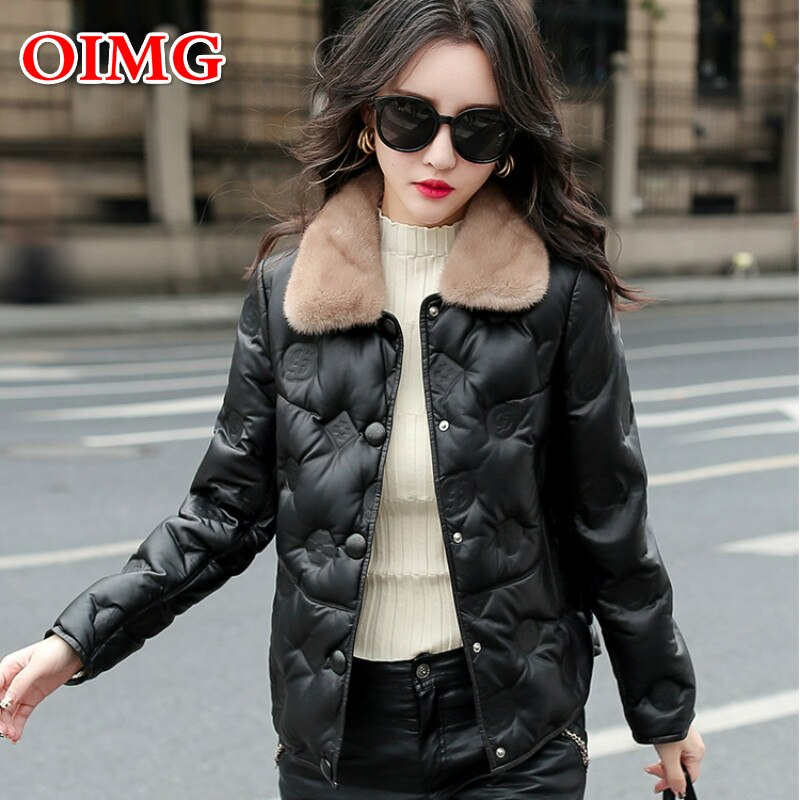 Autumn and Winter OIMG New Artificial Leather Women's Short Mink Fur Collar Fashion Casual Embroidered Sheepskin Coat