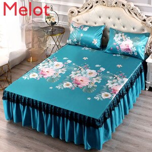 High-End Luxury Summer Ice Silk Three-Piece Set of Summer Sleeping Mat Bed Skirt 1.8M Bed Two-Piece Set Double Washed Foldable