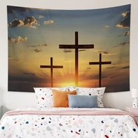 laeacco cross christian tapestry travel sleeping pad polyester fabric wall mounted tapestry living room bedroom decoration