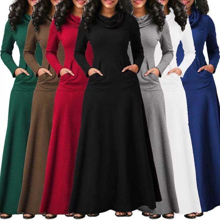 المرأة فستان دافئ مع جيب عادية الصلبة خمر الخريف الشتاء فستان ماكسي رداء القوس الرقبة فستان طويل أنيق Vestidos الإناث الجسم