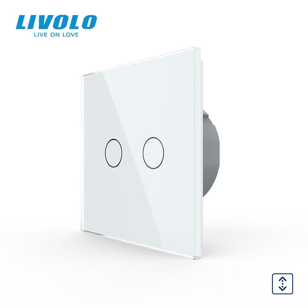 Livolo الفاخرة 7 الملونة كريستال لوحة زجاج ، الاتحاد الأوروبي القياسية التحكم باللمس الستائر التبديل ، 220 ~ 250V ، حتى أسفل ، C702W-1/2/3/5 ، لا شعار