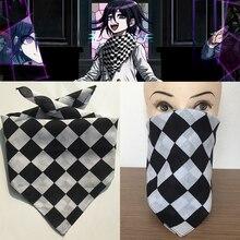 Anime Danganronpa V3 Ouma Kokichi bufanda cuadrada envoltura Cosplay accesorios de disfraz 55x55cm raro hecho a mano