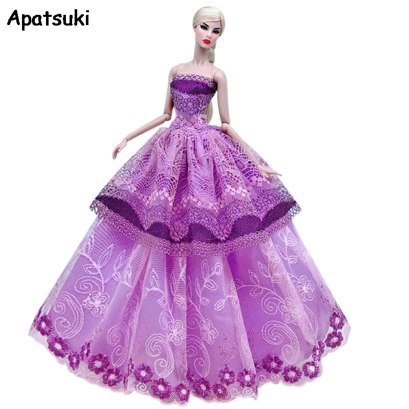Romantic Purple Lace Wedding Dress For Barbie Doll Outfits Party Gown Fashion Doll Clothes For 1/6 BJD Dolls Accessories Toys