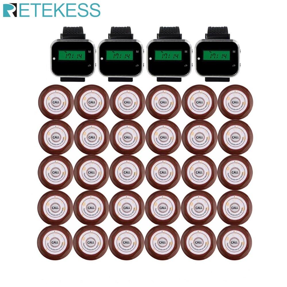 Ресторан пейджер Беспроводная система вызова для кафе бар 4 часы приемник + 30 Кнопка вызова передатчик бипер Ресторан оборудование