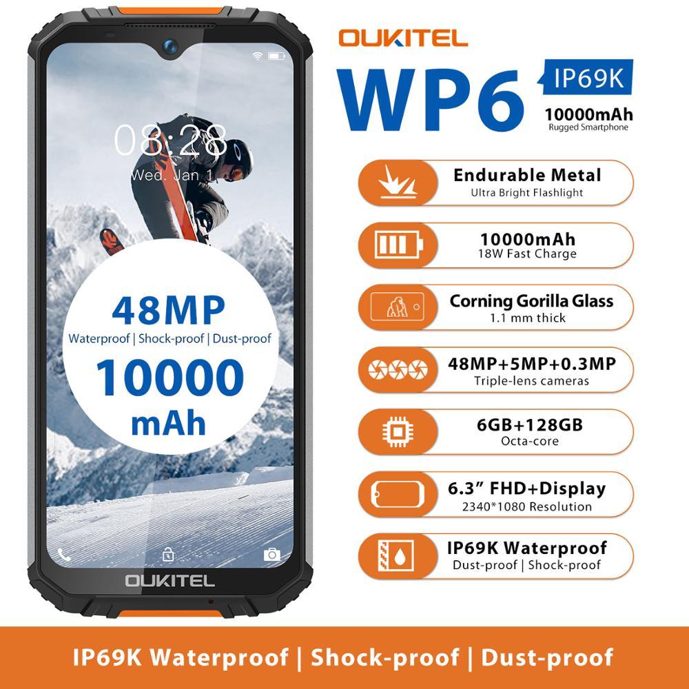Перейти на Алиэкспресс и купить OUKITEL WP6 смартфон с 5,5-дюймовым дисплеем, восьмиядерным процессором MT6771T, ОЗУ 9 В, ПЗУ 2 А, 10000 мАч, 48 МП, 6 ГБ, 128 ГБ, мобильный телефон