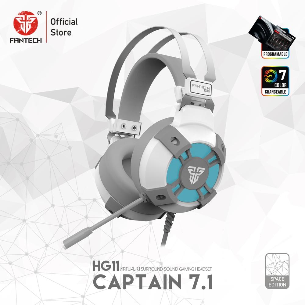 FANTECH HG11 белые Игровые наушники светодиодный 7,1 объемный звук наушники с микрофоном для ПК PS4 NS переключатель гарнитура геймер