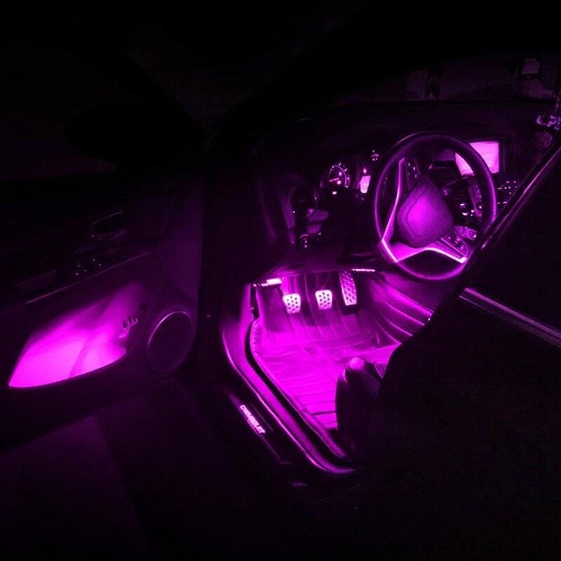 Автомобильный интерьерный неоновый светильник, Автомобильный светодиодный декоративный светильник, семь цветов, голосовое управление, ин...