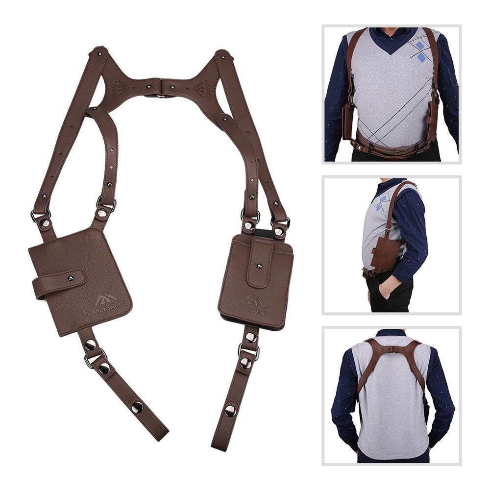 Portable Brown Leather Underarm Wallet Anti-Theft Hidden Holster For Phone Men Secret Agent Double Shoulder Wallet Bag Case