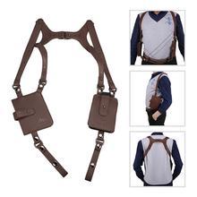 Portefeuille Portable en cuir marron sous les aisselles   Étui caché Anti-vol pour téléphone hommes Secret Agent Double épaule étui de sac