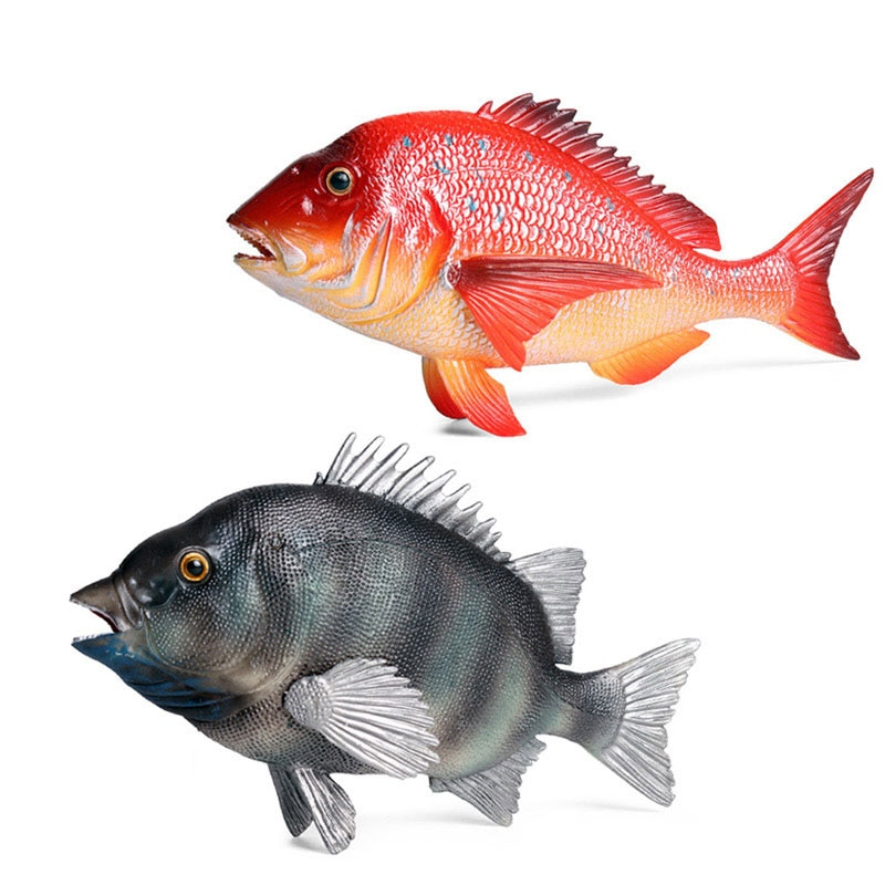 флогер wild black red Marine Life Simulation Animal Model Red Black Snapper Wild Sea Animal Fish Pvc Figurines for Kids Collection Educational Toys