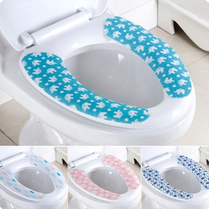 5 Pair Bathroom Toilet Seat Cushion Cartoon Style Sticky Toilet Seat Lid Cover Pads Warm Soft Washable Mat (Random Color)