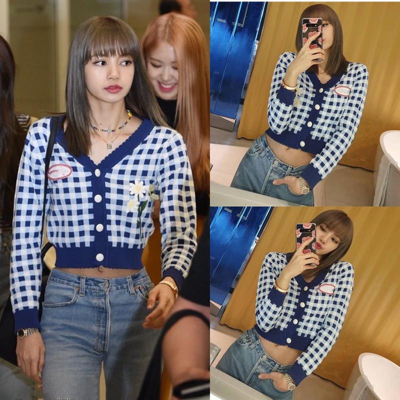 Kpop blackpink lisa 2020 coreano outono quente azul xadrez com decote em v hoodies feminino curto retro faculdade vento camisolas roupas femininas